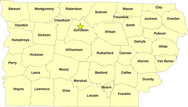 Middle Tennessee Counties Map
